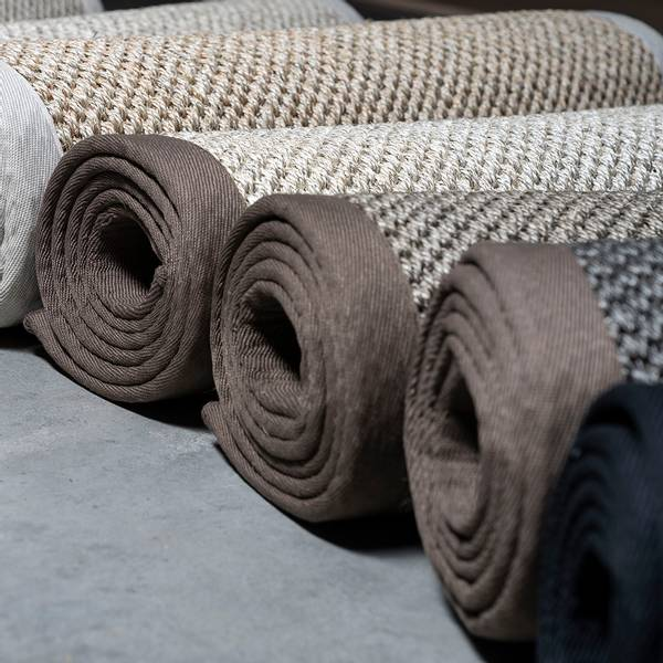 Sisal teppe (80x200 - Antrasitt/sort kant)